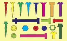 一套螺栓和螺丝的例证 免版税库存图片