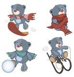 一套被充塞的熊戏弄动画片 库存照片