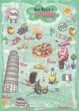 一套视域在意大利,建筑学,食物,运输,项目 免版税图库摄影