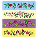 一套设计的花卉样式 免版税库存照片