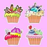 一套设计的鲜美蛋糕 免版税库存图片