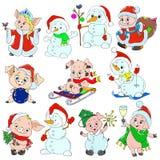 一套逗人喜爱的字符新年 圣诞节字符 小猪和雪人贺卡的 向量 免版税库存图片
