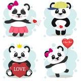 一套逗人喜爱的熊猫在华伦泰仿照动画片样式的` s天 库存图片