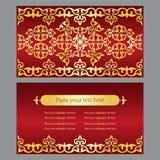 一套邀请卡片,名片 与g的红色背景 库存照片