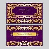 一套邀请卡片,名片 紫色背景与 免版税库存照片