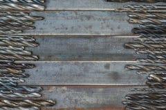 一套金属、木头和其他材料的使用的钻头 在 免版税库存照片