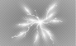 一套闪电魔术和明亮的光线影响 也corel凹道例证向量 放电电流 当前的费用 免版税库存图片