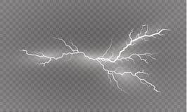 一套闪电魔术和明亮的光线影响 也corel凹道例证向量 放电电流 当前的费用 图库摄影