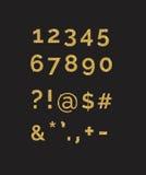 一套风格化闪耀的金黄闪烁花梢数字数字和标志 用途做您自己的文本 向量例证