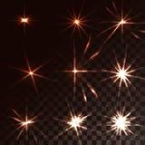 一套黄色,橙色发光的蓝色透明阳光,闪光,能量光芒,在一透亮黑暗的星强光,方格 向量例证