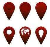 一套6平的象的深红Geolocation 库存例证