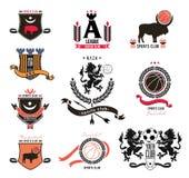 一套仿照纹章样式的体育商标,象征,设计元素 库存照片