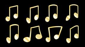 一套8金黄黄色肋骨或编织,连接音符,当编组在酒吧里面的笔记在黑b时的肥腻线 库存例证