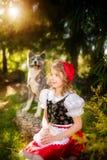 一女孩在红色盖帽和秋田象一只灰狼,是坐在森林边缘的朋友 免版税库存图片