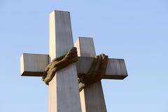绳索一定的纪念碑两十字架 免版税库存图片