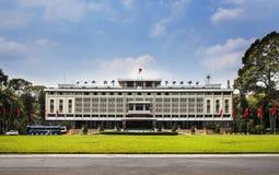 统一宫殿,地标在胡志明市,越南。 库存图片