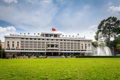 统一宫殿,地标在胡志明市,越南。 图库摄影
