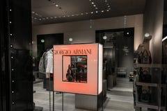 一家乔治・阿玛尼商店的商店窗口在米兰 免版税图库摄影