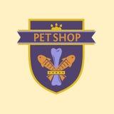 一家宠物商店的传染媒介商标纹章学样式的 库存照片