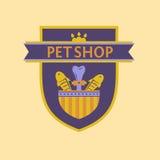 一家宠物商店的传染媒介商标纹章学样式的 库存图片