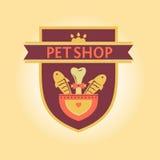 一家宠物商店的传染媒介商标纹章学样式的 图库摄影