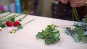 一家小企业的女孩女主人亲自收集她的客户的美丽的花束 股票录像