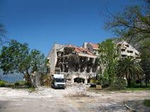 一家老旅馆的爆破 库存照片