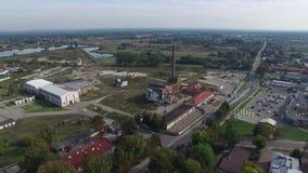 一家老糖工厂,奥波莱Lubelskie,波兰, 06的废墟 2016年,鸟瞰图 影视素材