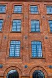 一家老纺织品工厂的美妙地被更新的门面 免版税库存照片