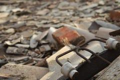 一家被破坏的老大工厂的废墟 库存图片