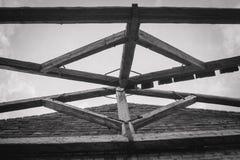 一家被破坏的老大工厂的废墟 图库摄影