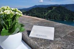 一家餐馆的美丽的景色有一个湖的看法背景的 免版税库存照片