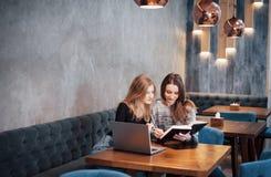 一对一的会议 坐在咖啡馆的桌上的两个年轻女商人 女孩显示关于膝上型计算机屏幕的同事信息 图库摄影