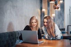 一对一的会议 坐在咖啡馆的桌上的两个年轻女商人 女孩显示关于膝上型计算机屏幕的同事信息 免版税库存照片