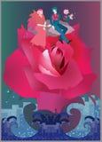 一对可爱的年轻夫妇在发怒的海洋的一朵巨大的玫瑰飞行 对婚姻的邀请在传染媒介 库存例证