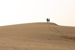 一对夫妇的剪影在一个沙丘的在沙漠 库存图片