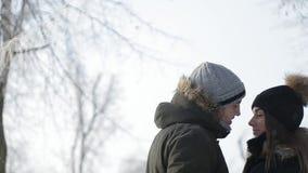 一对夫妇的浪漫步行在雪的在美妙的冬天天气停放 影视素材