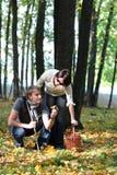 在秋天木头的夫妇 免版税库存照片