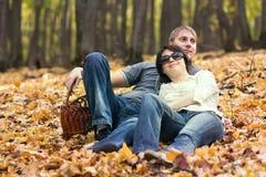 在秋天木头的夫妇 免版税库存图片