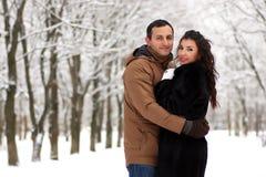 一对年轻夫妇在冬天公园走 免版税图库摄影
