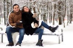 一对年轻夫妇在冬天公园走 库存照片