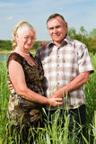 一对微笑的年长夫妇的特写镜头纵向 免版税图库摄影