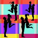 一对快乐的跳跃的夫妇的传染媒介剪影 向量例证