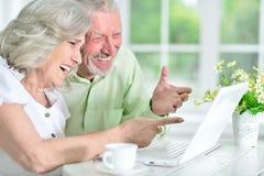 一对愉快的资深夫妇的画象使用膝上型计算机的 图库摄影