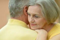 一对愉快的逗人喜爱的年长夫妇的画象 免版税库存图片