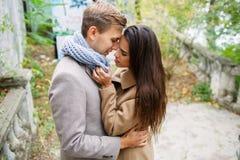 一对爱恋的夫妇在公园走 库存照片