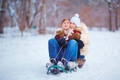 一对爱恋的夫妇在冬天在公园 库存照片