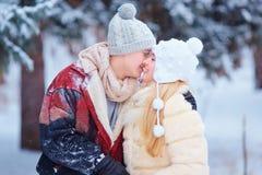 一对爱恋的夫妇在冬天在公园 免版税库存照片