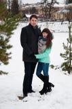 一对爱恋的夫妇在冬天城市公园走 库存图片