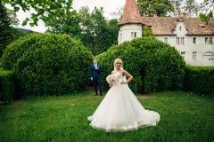 一对爱恋的夫妇在秋天走在公园 新郎和新娘的婚礼之日 库存照片